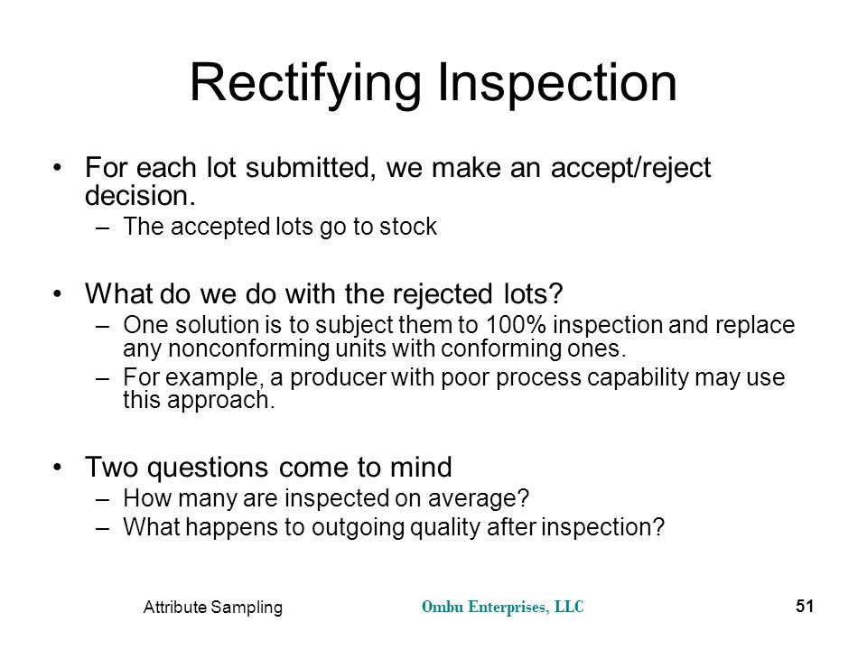 Rectifying Inspection