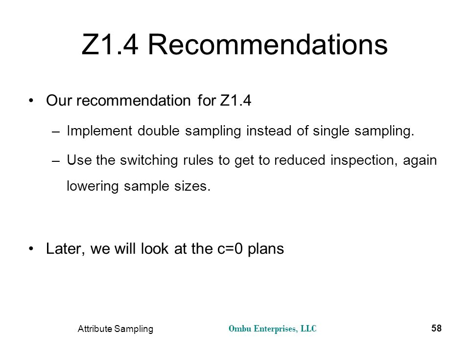 Z1.4 Recommendations Our recommendation for Z1.4