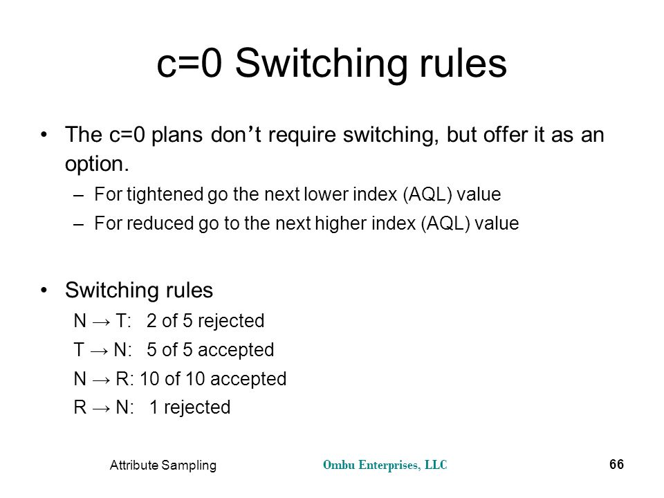 c=0 Switching rules The c=0 plans don't require switching, but offer it as an option. For tightened go the next lower index (AQL) value.