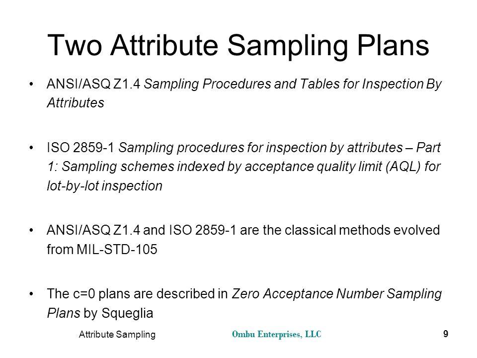 Two Attribute Sampling Plans