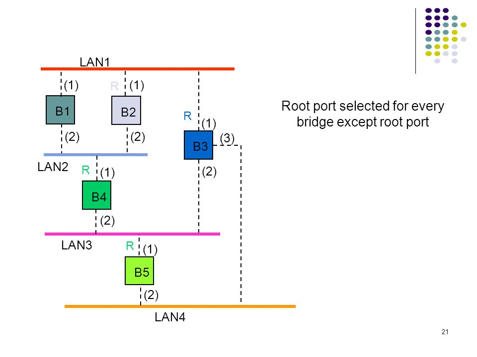 Root port selected for every bridge except root port
