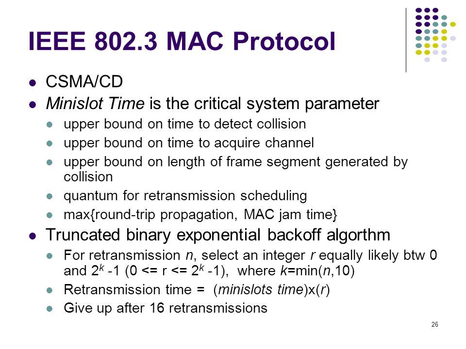 IEEE 802.3 MAC Protocol CSMA/CD