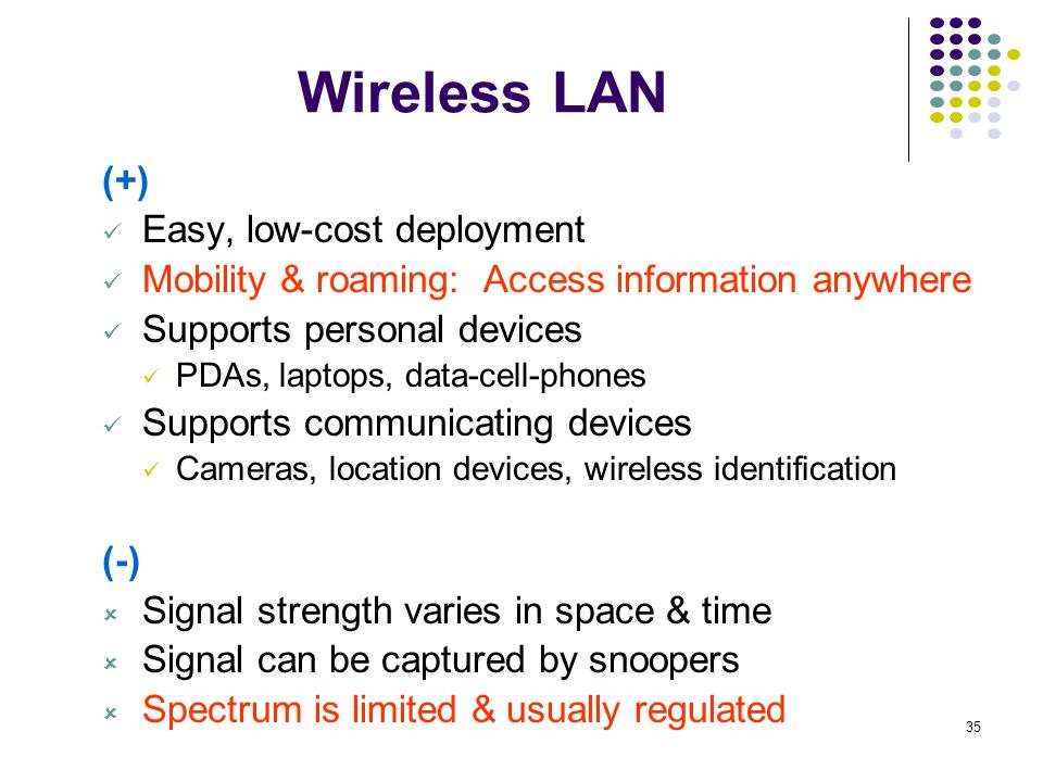 Wireless LAN (+) Easy, low-cost deployment