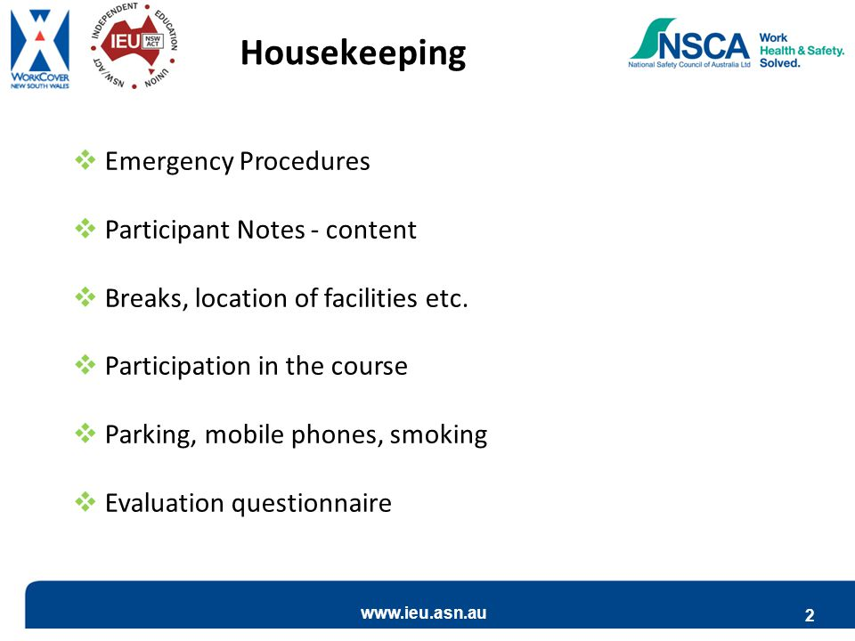 Housekeeping Emergency Procedures Participant Notes - content