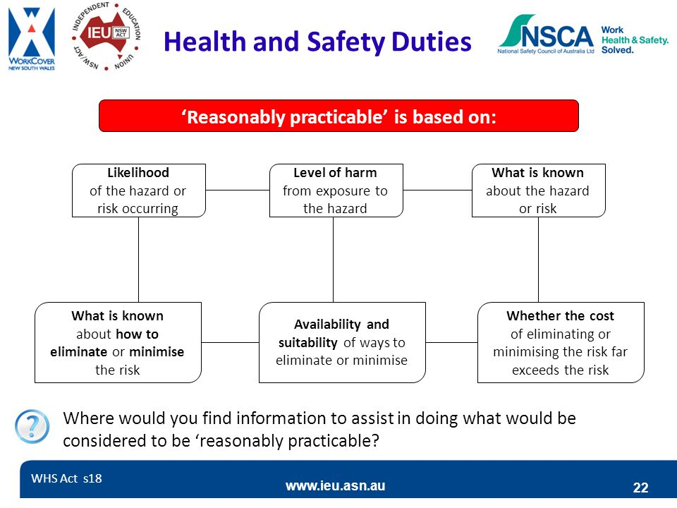 Health and Safety Duties 'Reasonably practicable' is based on: