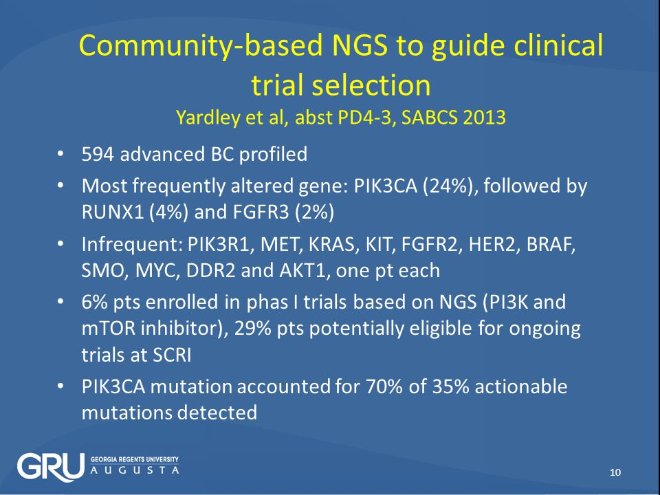 Community-based NGS to guide clinical trial selection Yardley et al, abst PD4-3, SABCS 2013