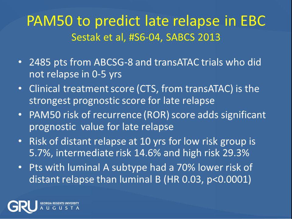 PAM50 to predict late relapse in EBC Sestak et al, #S6-04, SABCS 2013