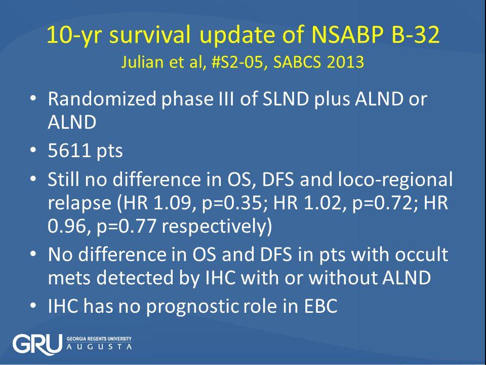 10-yr survival update of NSABP B-32 Julian et al, #S2-05, SABCS 2013