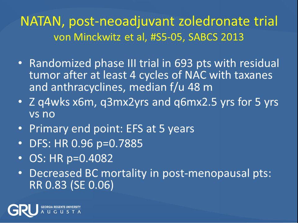 NATAN, post-neoadjuvant zoledronate trial von Minckwitz et al, #S5-05, SABCS 2013