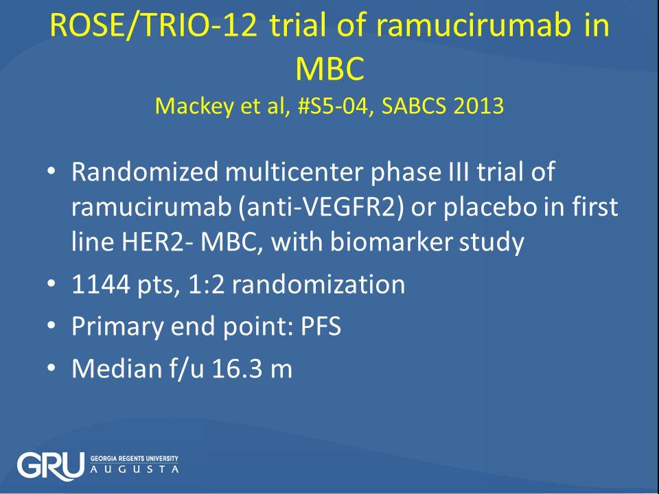 ROSE/TRIO-12 trial of ramucirumab in MBC Mackey et al, #S5-04, SABCS 2013
