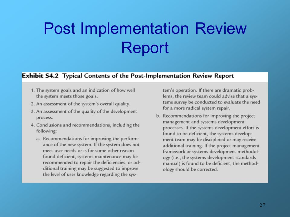 Post Implementation Review Report