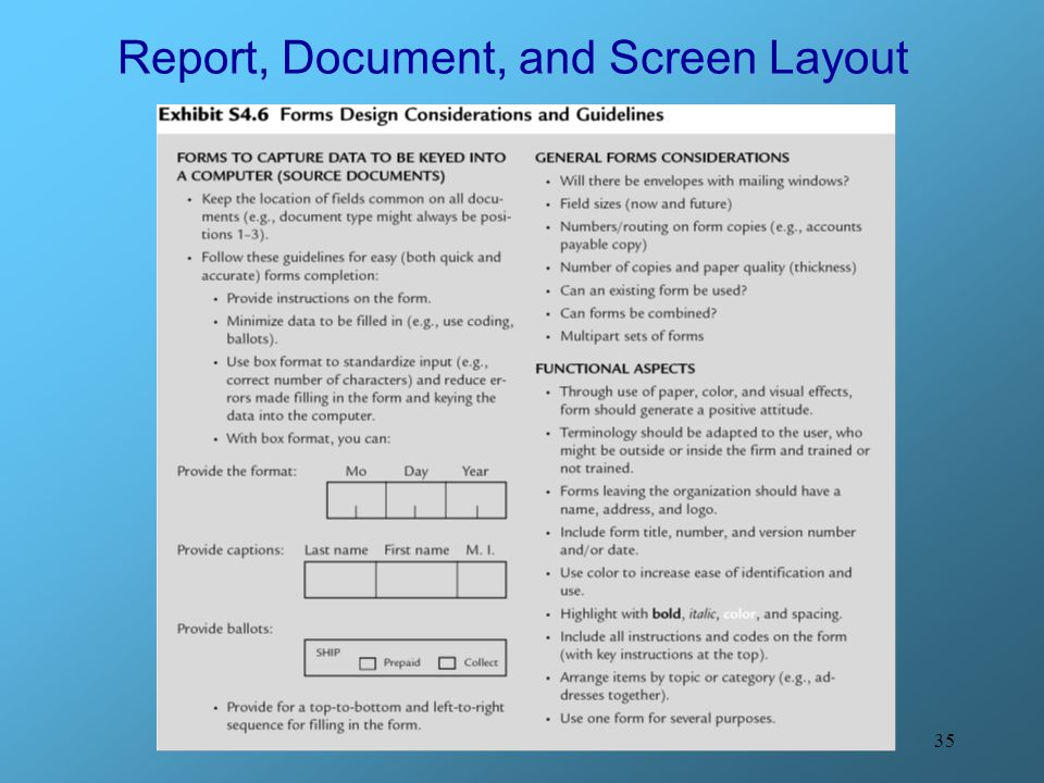 Report, Document, and Screen Layout
