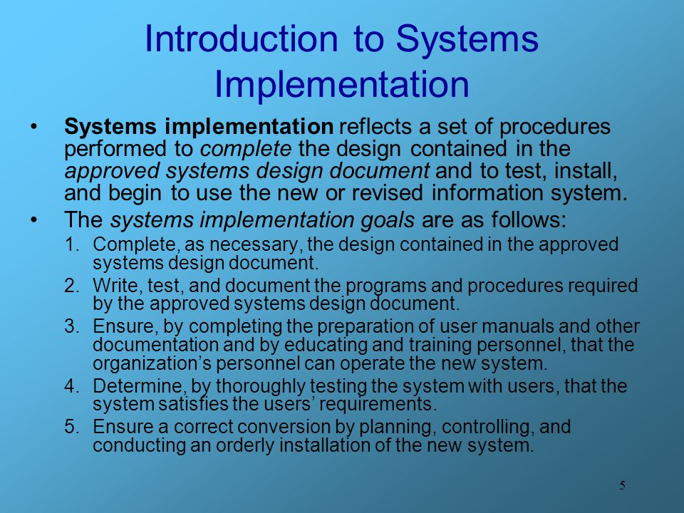 Introduction to Systems Implementation