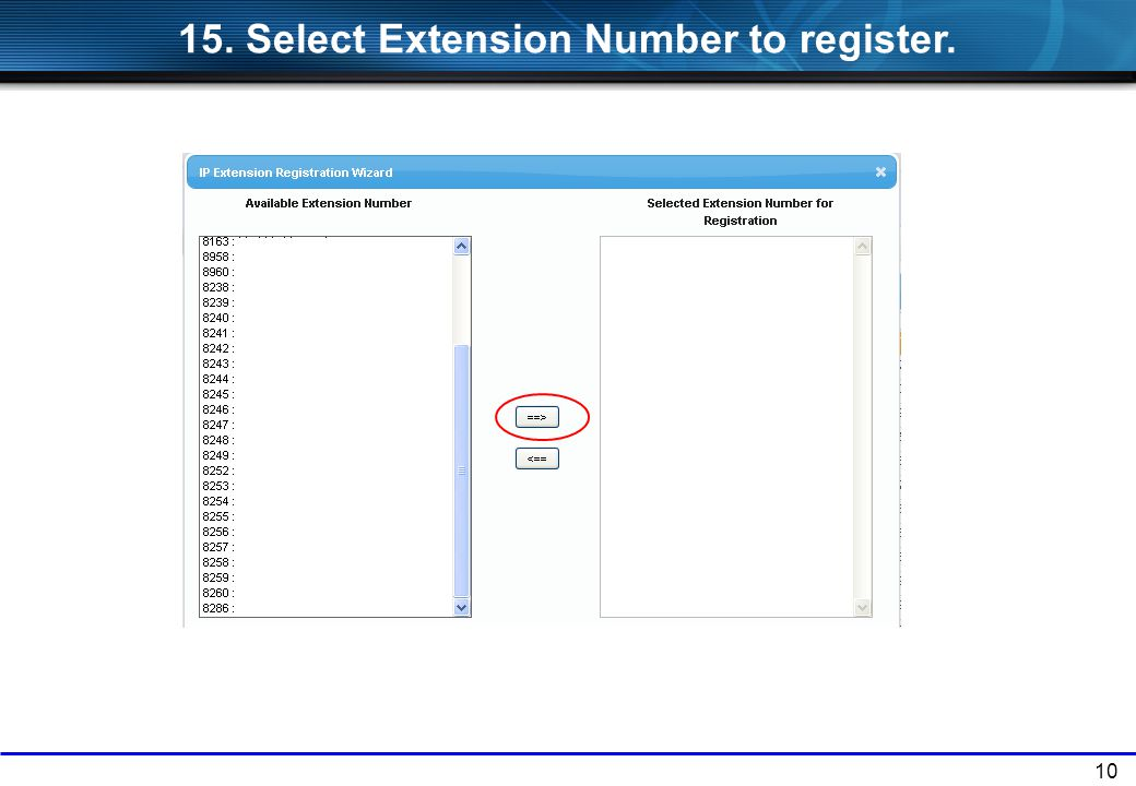 15. Select Extension Number to register.