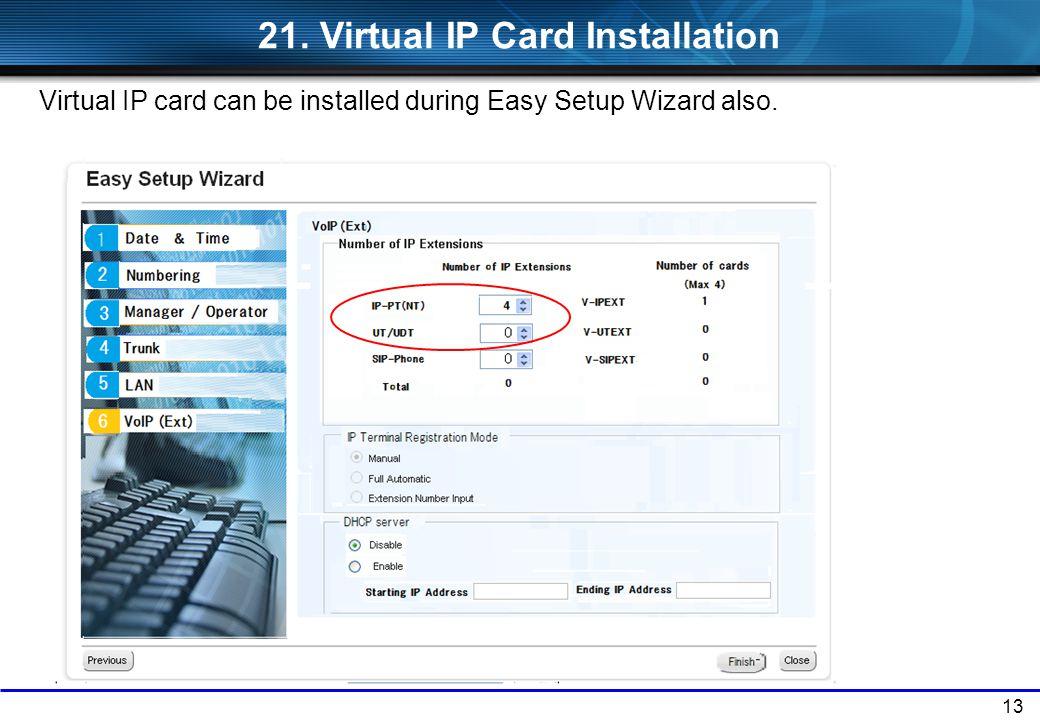 21. Virtual IP Card Installation
