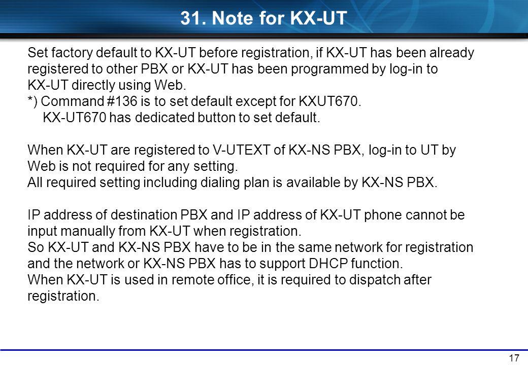 31. Note for KX-UT