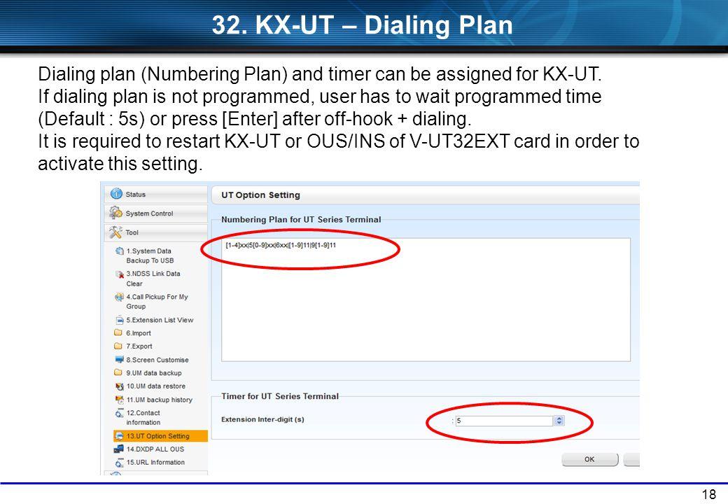 32. KX-UT – Dialing Plan