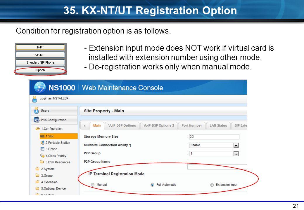 35. KX-NT/UT Registration Option