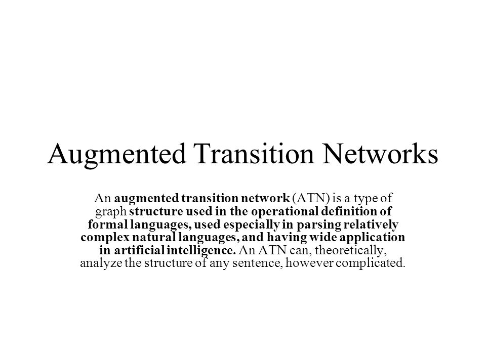 Augmented Transition Networks