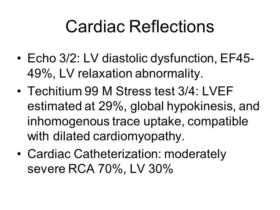 Cardiac Reflections Echo 3/2: LV diastolic dysfunction, EF45-49%, LV relaxation abnormality.
