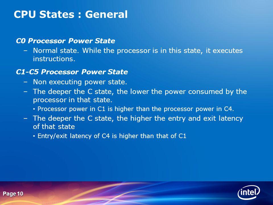 CPU States : General C0 Processor Power State