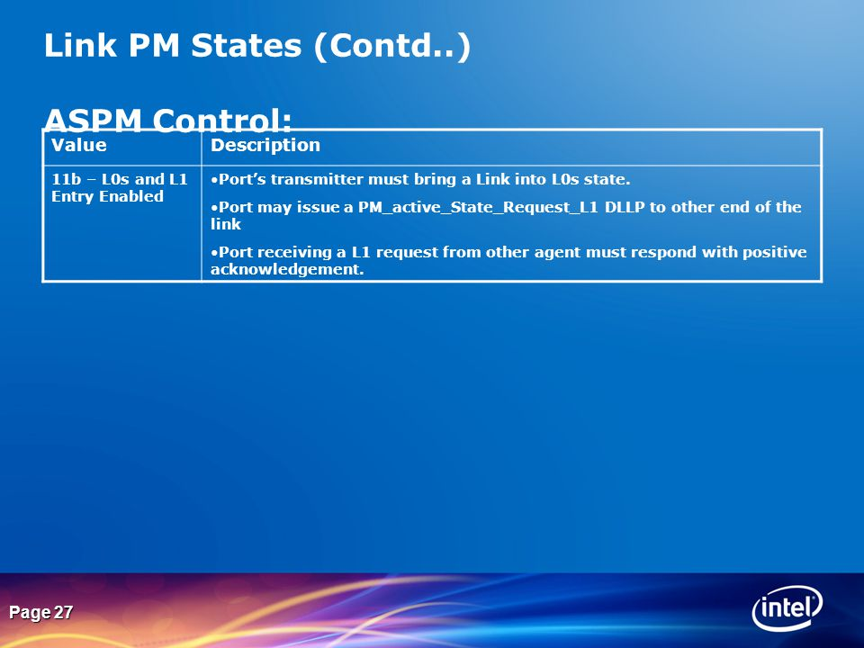 Link PM States (Contd..) ASPM Control: