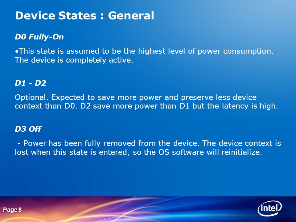 Device States : General