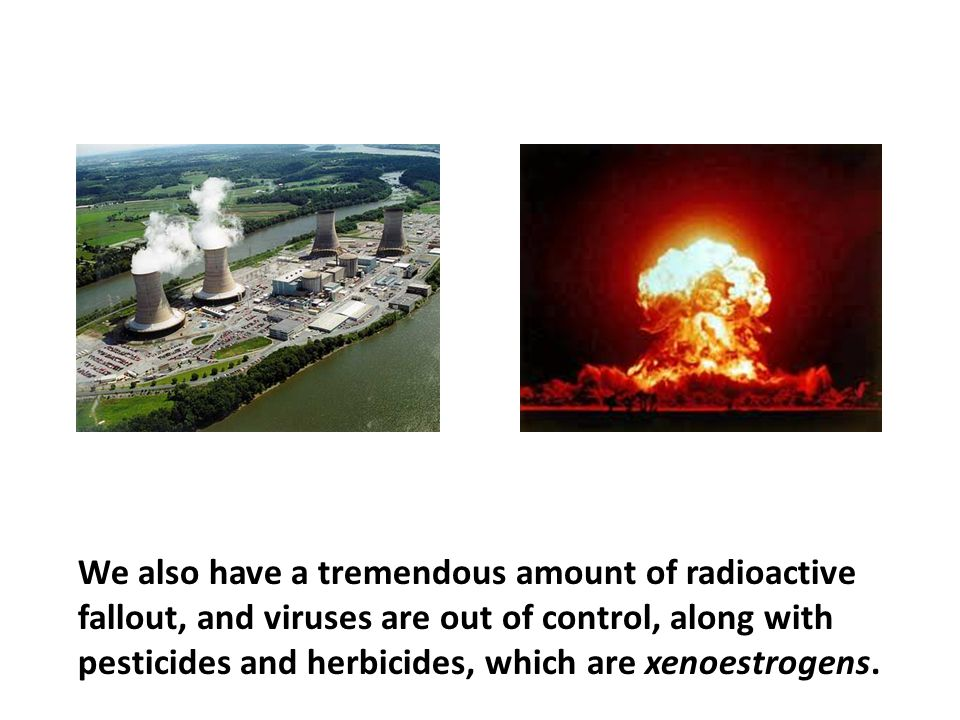 We also have a tremendous amount of radioactive fallout, and viruses are out of control, along with pesticides and herbicides, which are xenoestrogens.