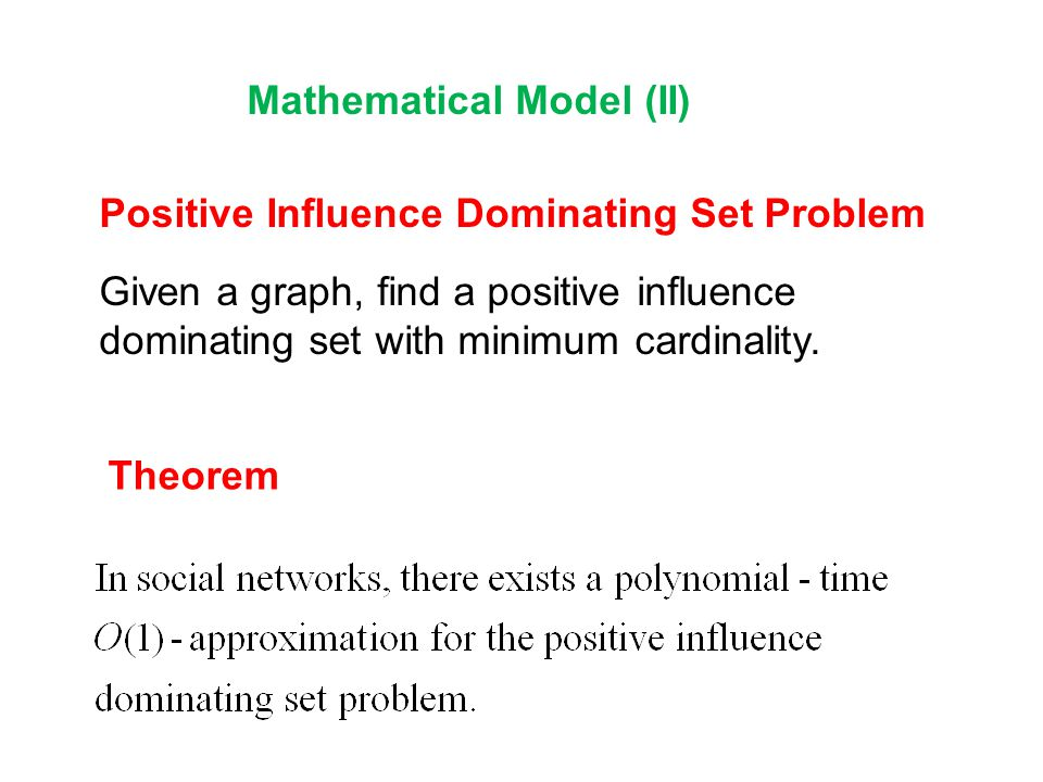 Mathematical Model (II)