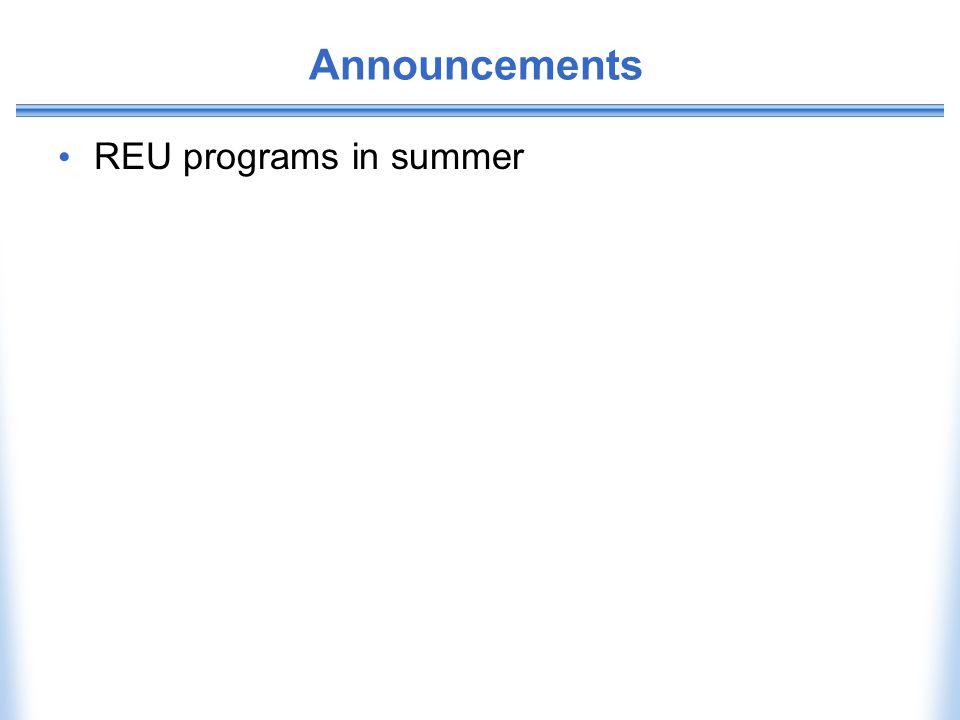 Announcements REU programs in summer
