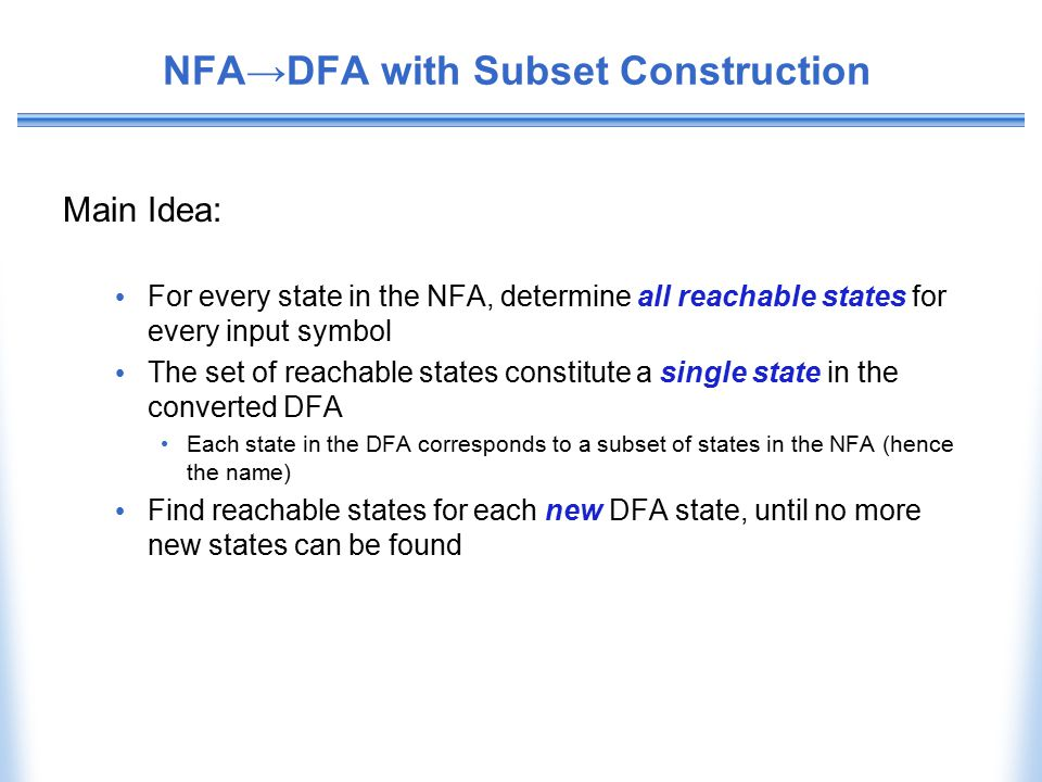 NFA→DFA with Subset Construction