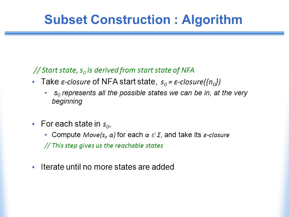 Subset Construction : Algorithm