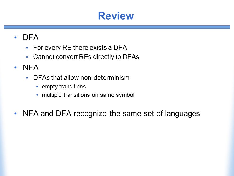 Review DFA NFA NFA and DFA recognize the same set of languages