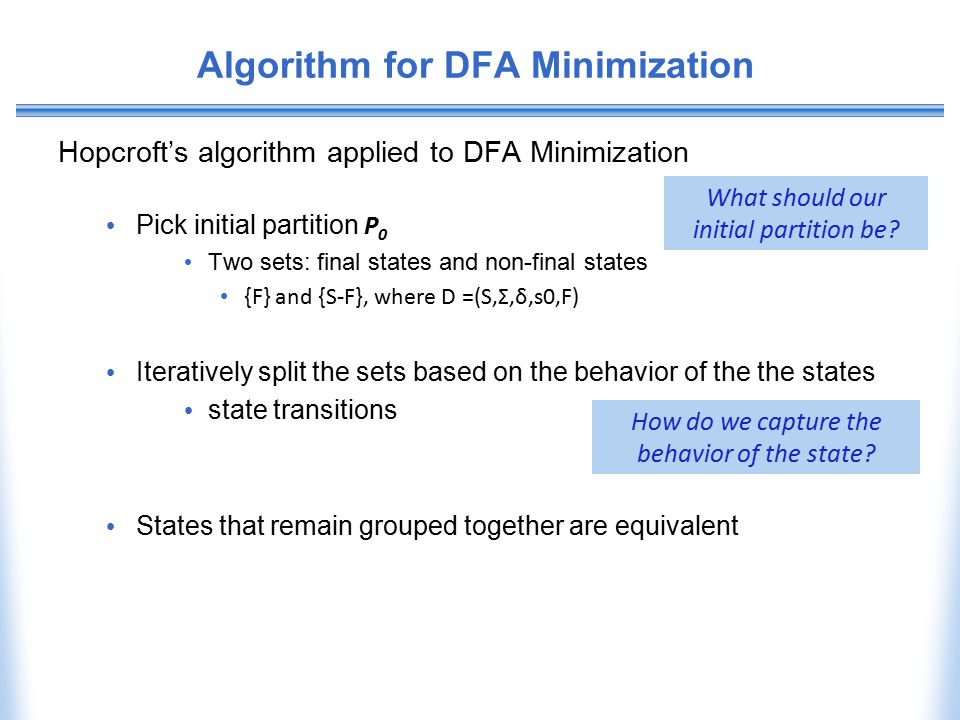 Algorithm for DFA Minimization