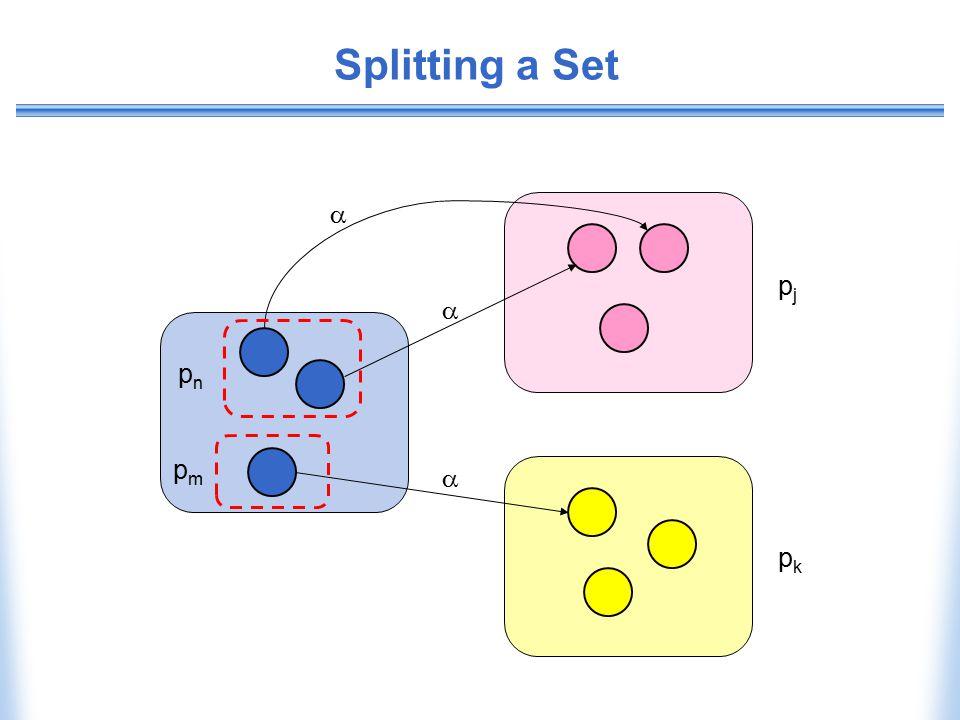 Splitting a Set  pj  pn pm  pk