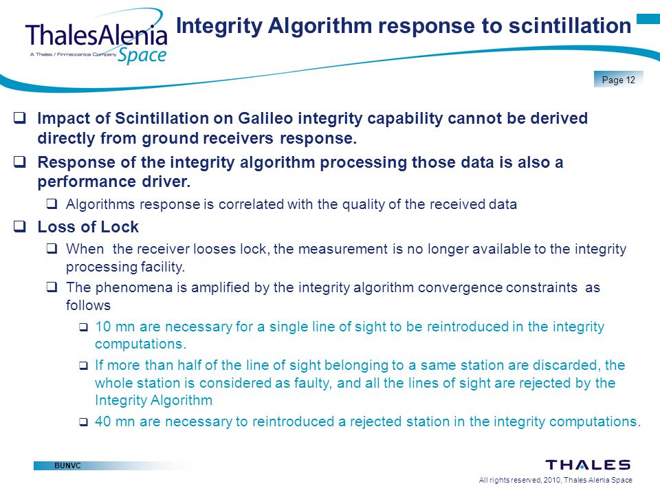 Integrity Algorithm response to scintillation