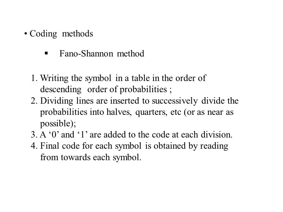 Coding methods Fano-Shannon method. 1. Writing the symbol in a table in the order of. descending order of probabilities ;