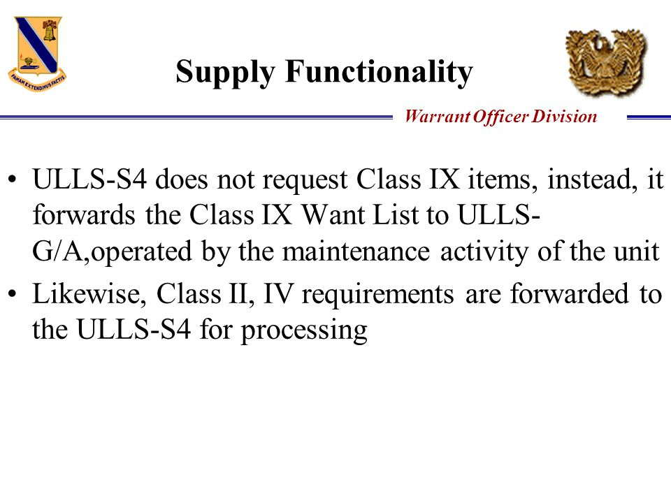 Supply Functionality