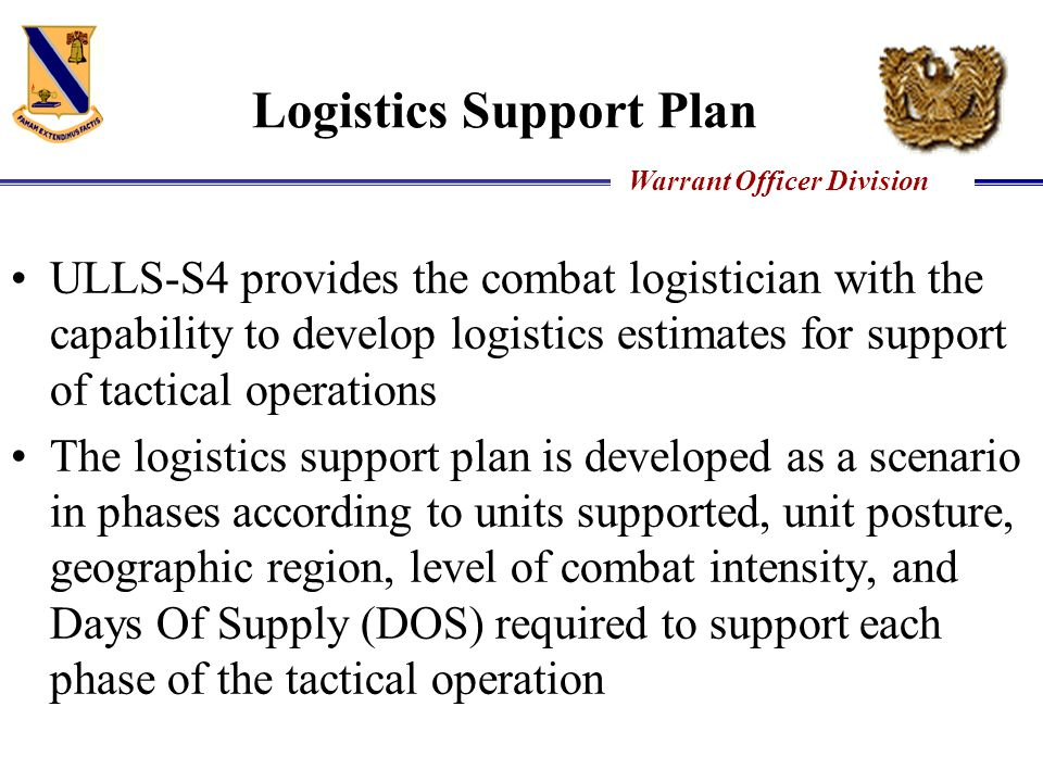 Logistics Support Plan