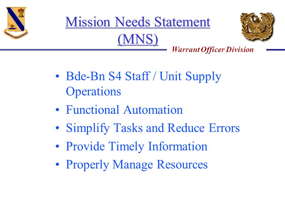 Mission Needs Statement (MNS)
