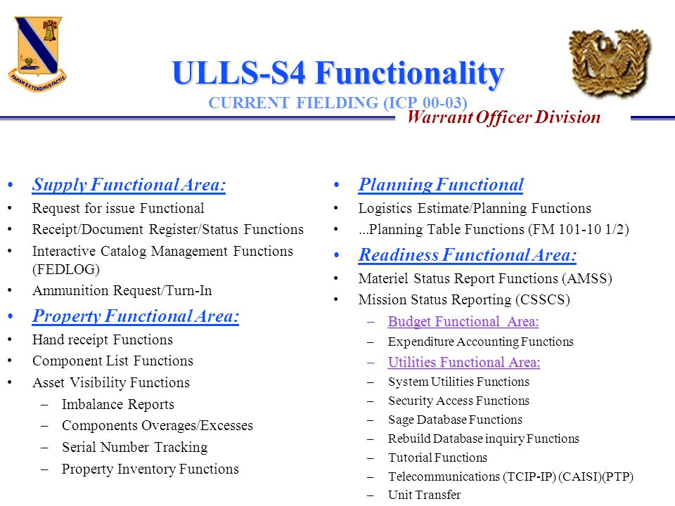 ULLS-S4 Functionality CURRENT FIELDING (ICP 00-03)
