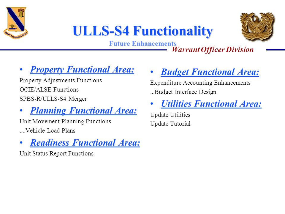 ULLS-S4 Functionality Future Enhancements