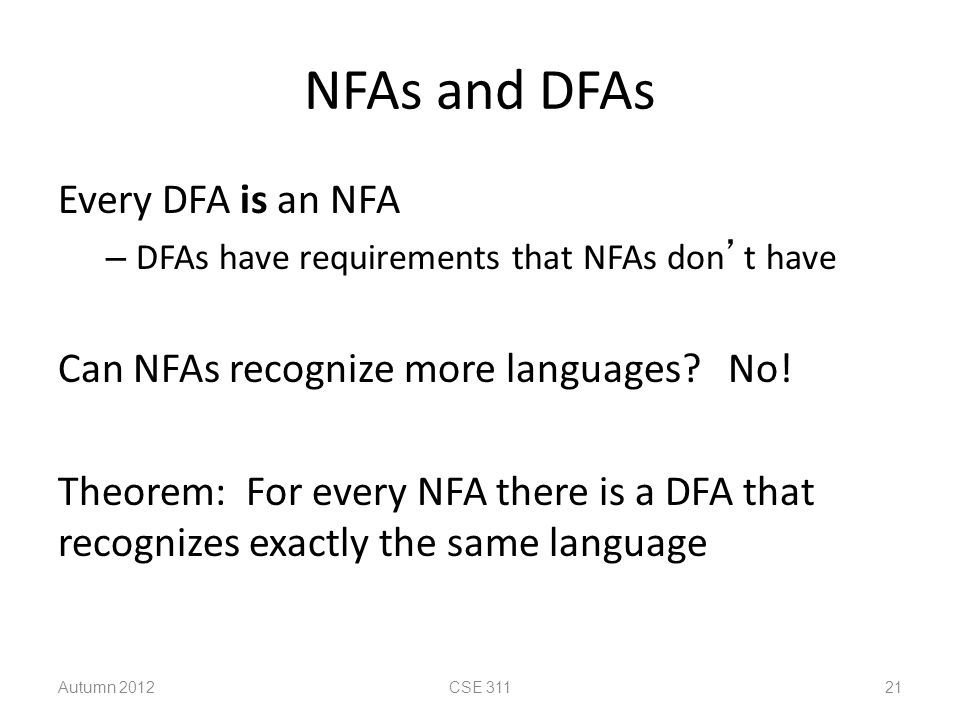 NFAs and DFAs Every DFA is an NFA