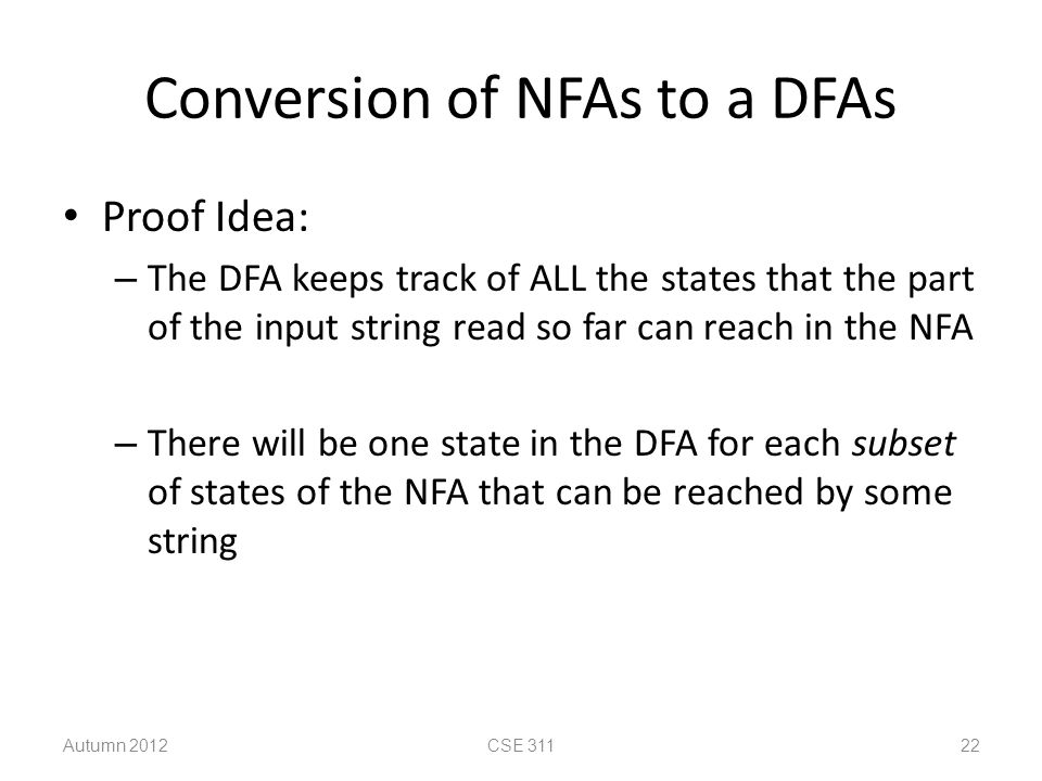 Conversion of NFAs to a DFAs