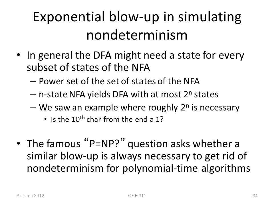 Exponential blow-up in simulating nondeterminism