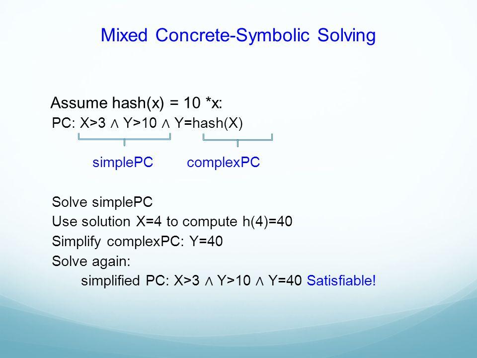 Mixed Concrete-Symbolic Solving