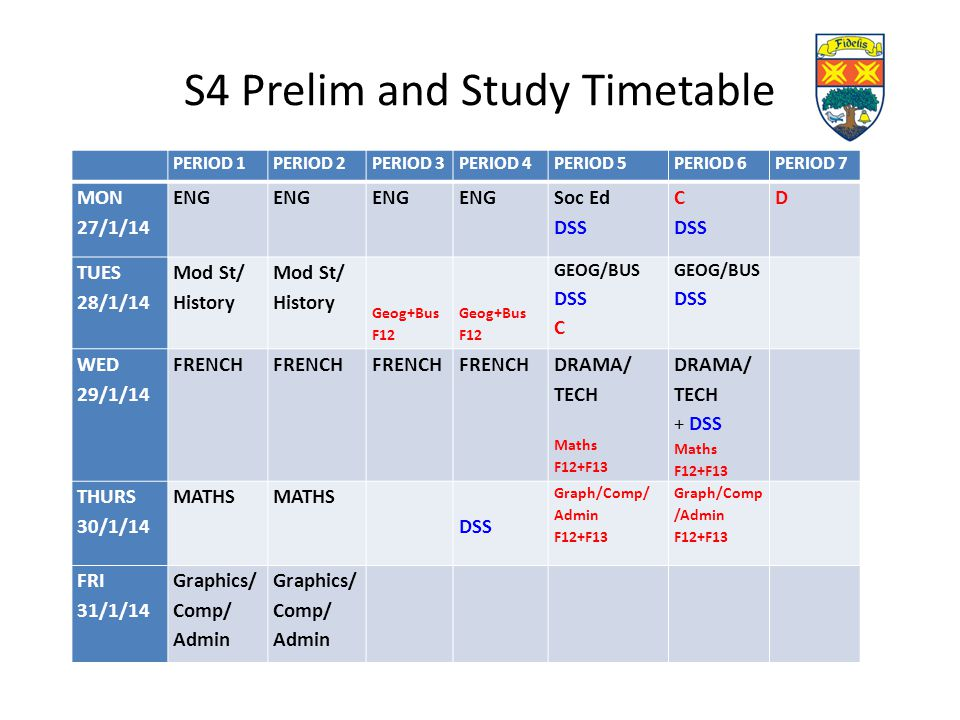 S4 Prelim and Study Timetable