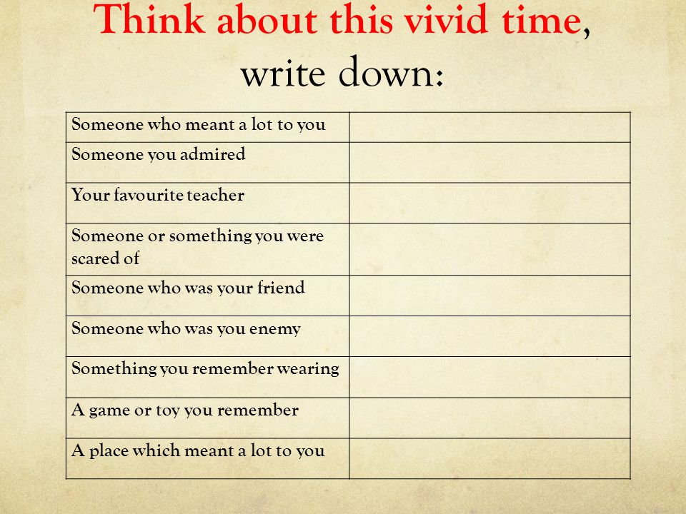 Think about this vivid time, write down: