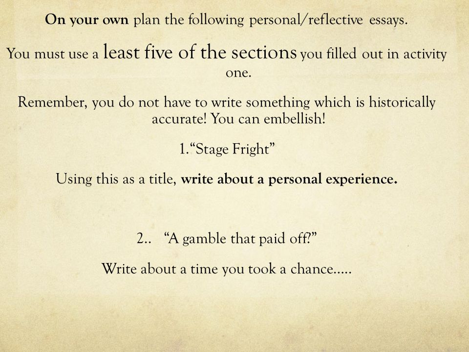 On your own plan the following personal/reflective essays.