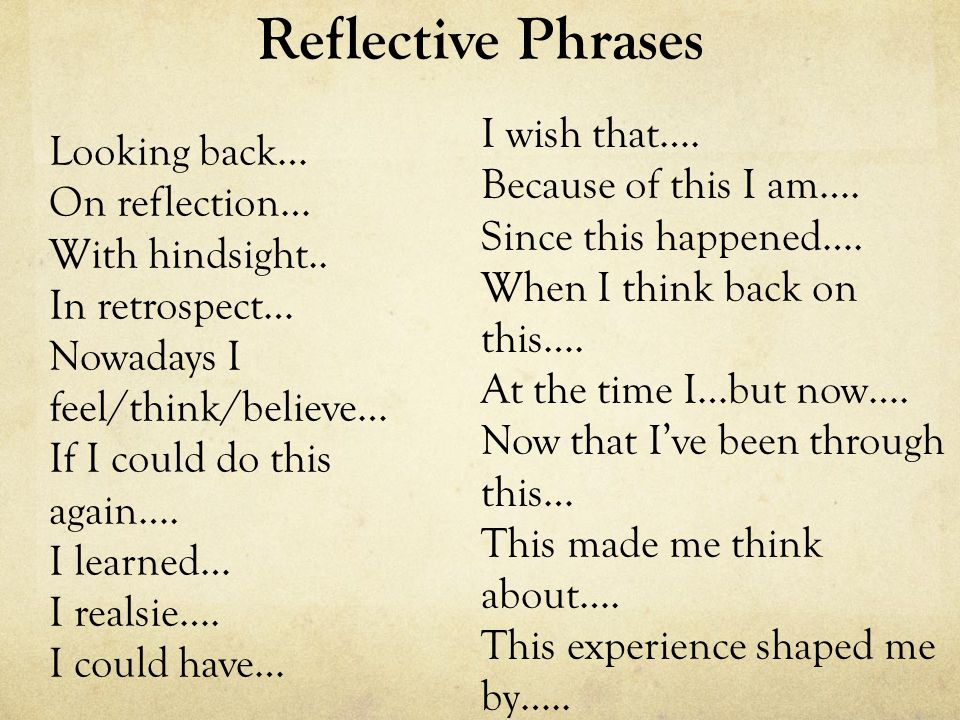 Reflective Phrases I wish that…. Looking back… Because of this I am….